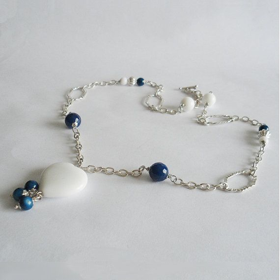 Blue agate and white agate necklace with by LaPietraBluDiAvalon