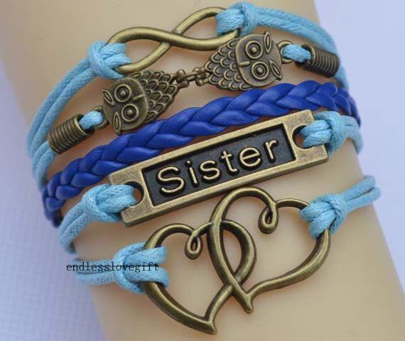 Infinity bracelet owl bracelet sisters bracelet by endlesslovegift, $6.35