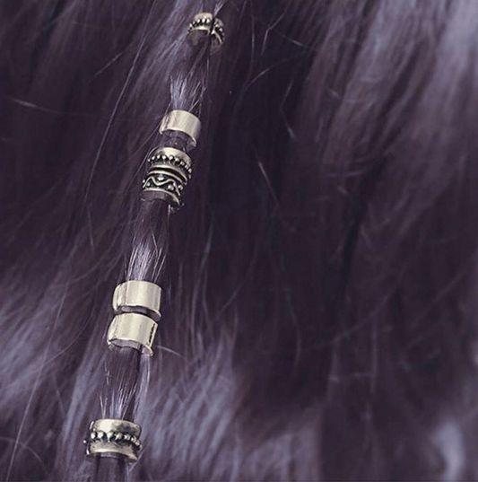 regal rose hair bead clickers on purple hair