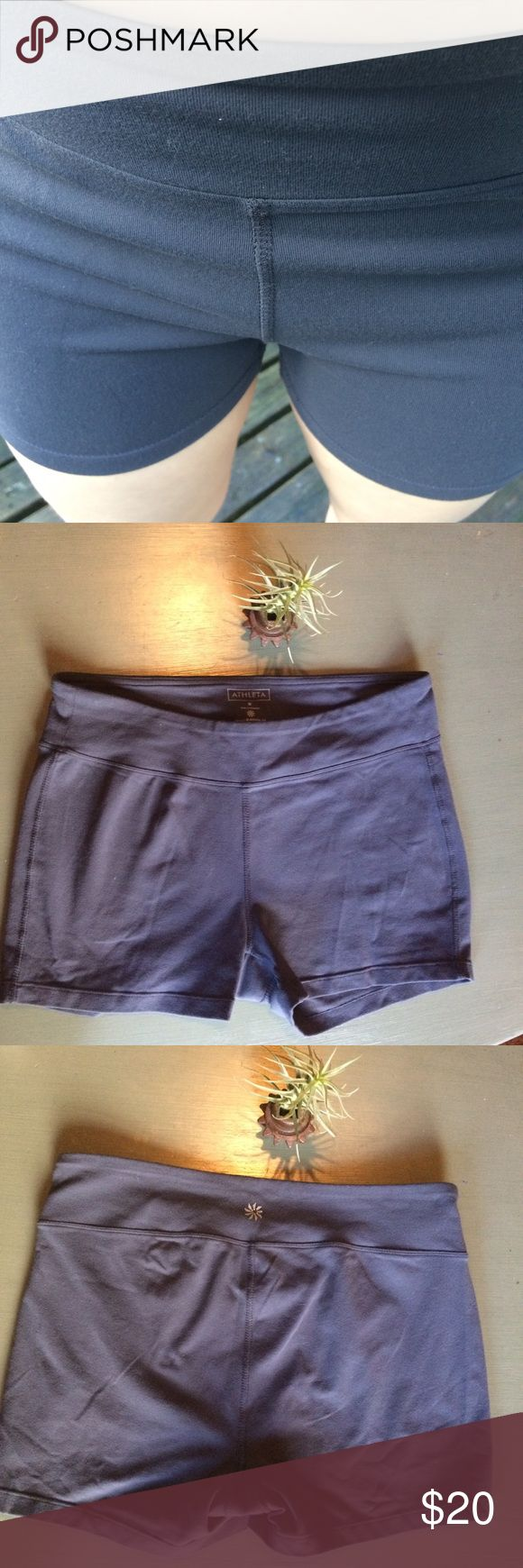 Athleta gray athletic shorts Athleta gray athletic shorts that fit snugly and will move with your body as you move. Has inner lining at crotch area. Would be great for a hot yoga class! Athleta symbol on back shows slight wear (Shown). Measurements: waist:14, length: 10.5 Athleta Shorts