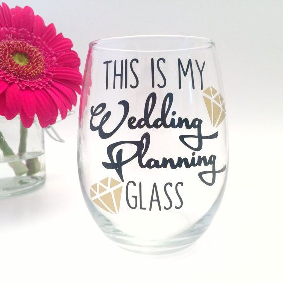 Engagement Gift This is My Wedding Planning Wine Glass Cup Mug Does this Ring Make Me Look Engaged Bride Present Wedding Glasses