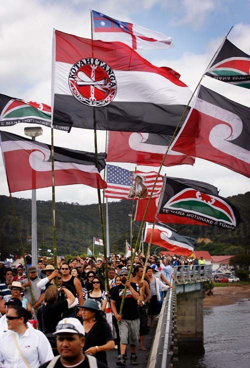 Māori flags at Waitangi Day.