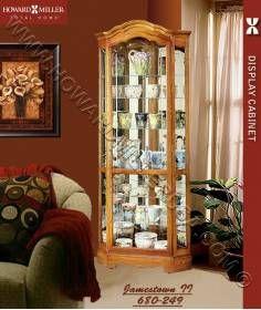 Howard Miller Oak Corner Curio Cabinet Mirror Back 680250 Jamestown  II Crystal Cut Grooved