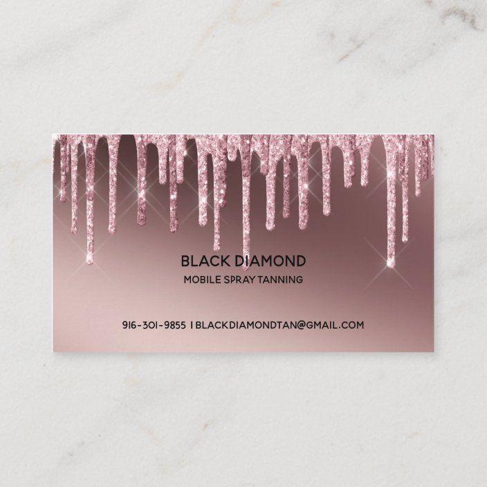 Spray Tan Script Dripping Glitter Gold Business Card Zazzle Com Gold Business Card Spray Tanning Gold Glitter