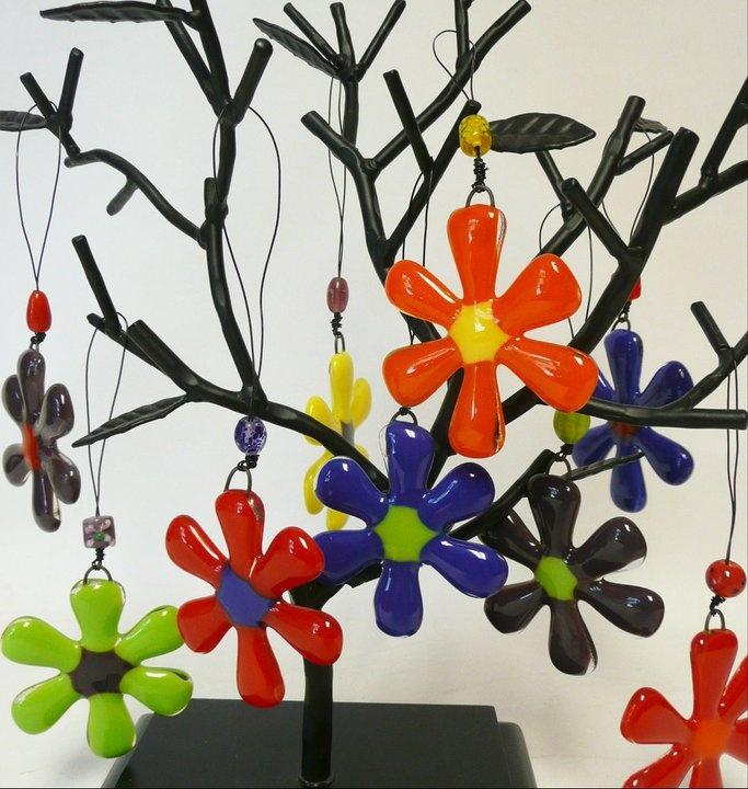 Fused Glass Flower Sun Catcher