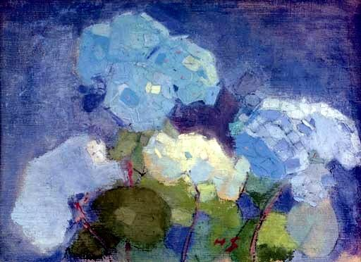 Schjerfbeck, Helene (1862-1946) - 1915 Hydrangea (Christie's London, 2007). Oil and tempera on canvas; 42.5 x 60 cm