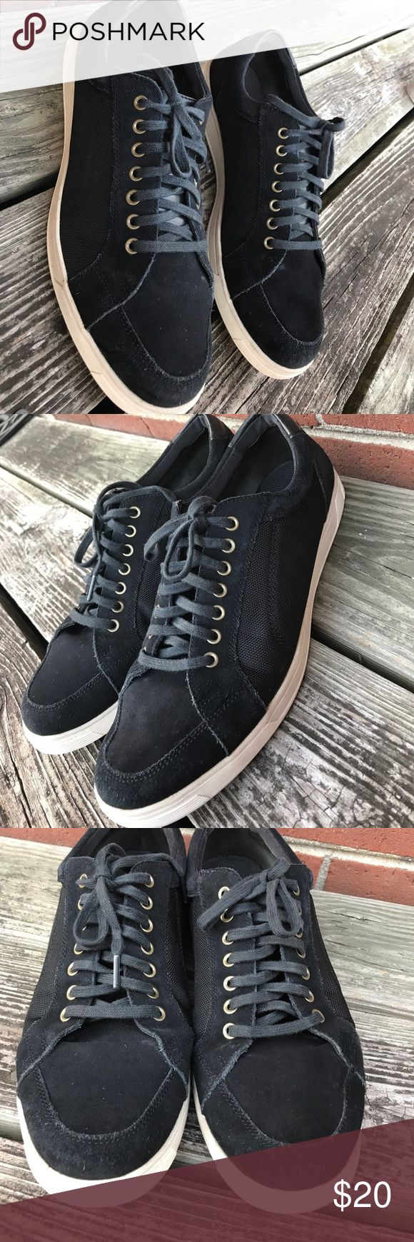 👱Cole Haan suede sneakers Suede and nylon canvas sneakers. Gently worn. Pics show any flaws. I have not attempted to clean the suede, and mark in the back right shoe looks like it CAN be cleaned off. Excellent used condition. Size 11 Shoes
