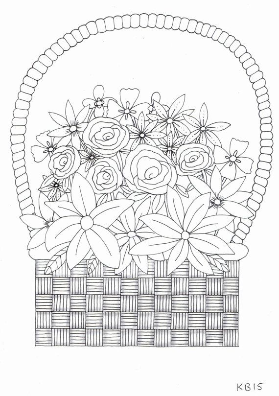 Adult Colouring Page Basket Of Flowers By KafsKrafts On Etsy
