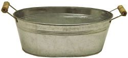 Good site with cheap/ wholesale galvanized tubs/ buckets for planting, summer party beverage cooler, etc.  Pictured: Galvanized Oval Tubs With Wood Handle.