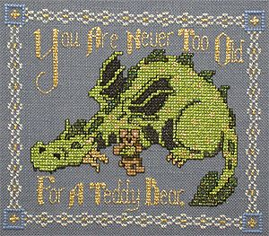 You Are Never Too Old for a Teddy Bear Dragon Free Cross Stitch Pattern Chart