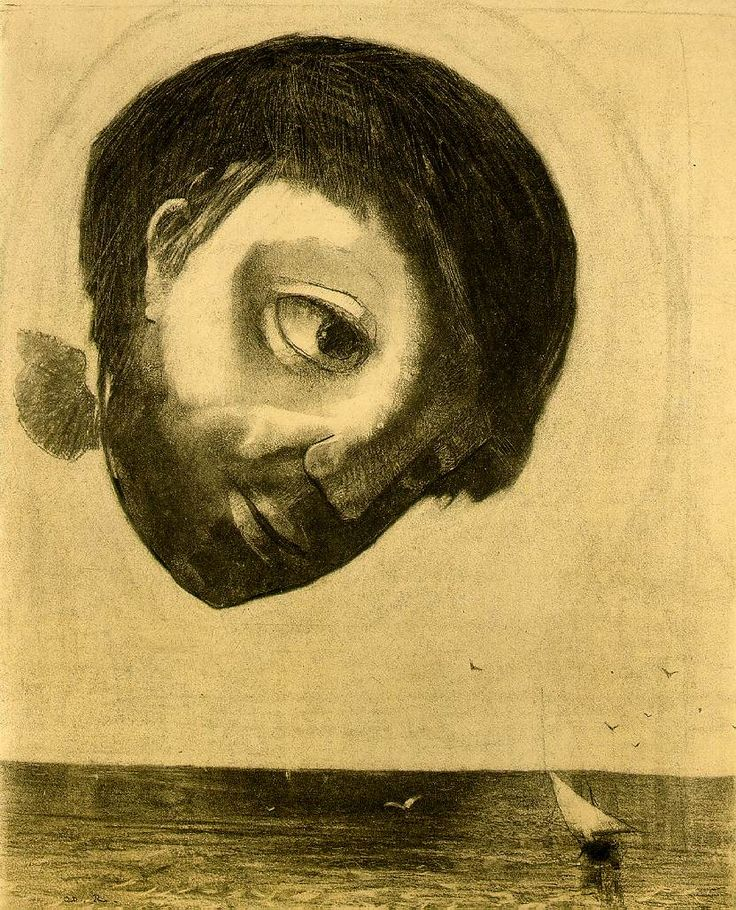 Guardian Spirit of the Waters  1878  by Odilon Redon.  Charcoal, 46.6 x 37.6 cm