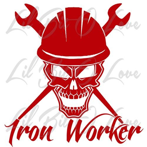 ironworker logo. iron worker skull in hard hat with crossed spud wrenches vinyl . ironworker logo w