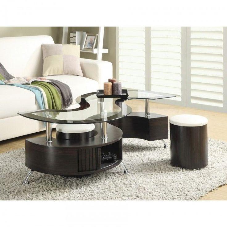 Modern Living Room Furniture Set Wood Glass Coffee Table Stool Brown Home Decor #ModernLivingRoomFurnitureSet #Modern