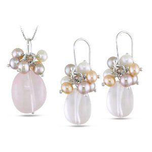 Sterling Silver Rose Quartz with Freshwater Natural Color Pearl Set of Pendant and Earrings Amour. $56.99