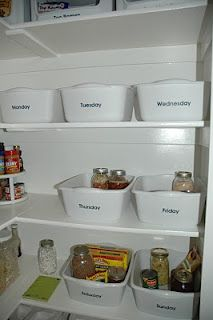 Organized Meal Planning Tutorial : each day of the week has its own bin for storing non-perishable ingredients for that days meals.