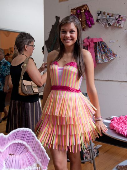 a dress made out of straws!!! and its uber cute :D