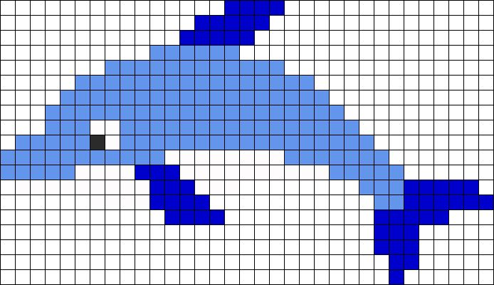 Dolphin Perler Bead Pattern | Bead Sprites | Animals Fuse Bead Patterns