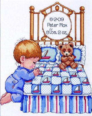 Bedtime Prayer Boy Sampler, Tobin Baby Cross Stitch Kit by Design Works