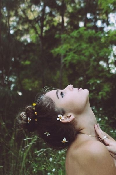 Flower child hair girl makeup outdoors nature flowers naked bare