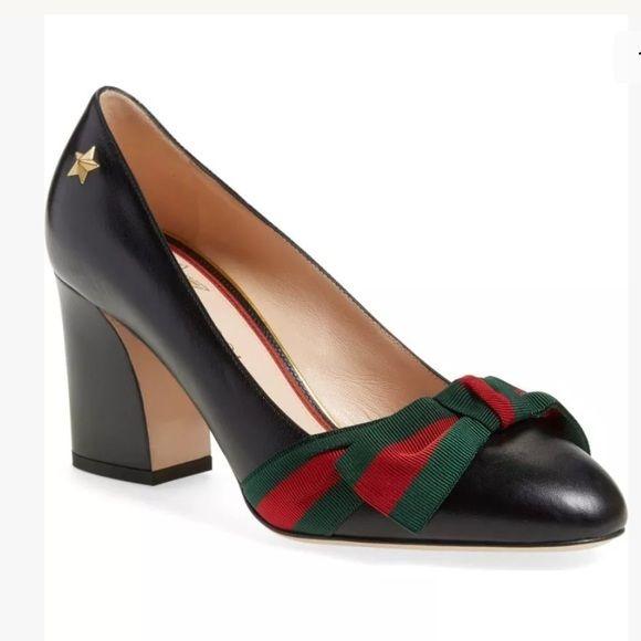 Gucci Aline Block Heel Pumps Leather