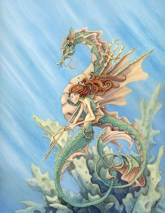 Mermaid and Sea Dragon by Tinadh.deviantart