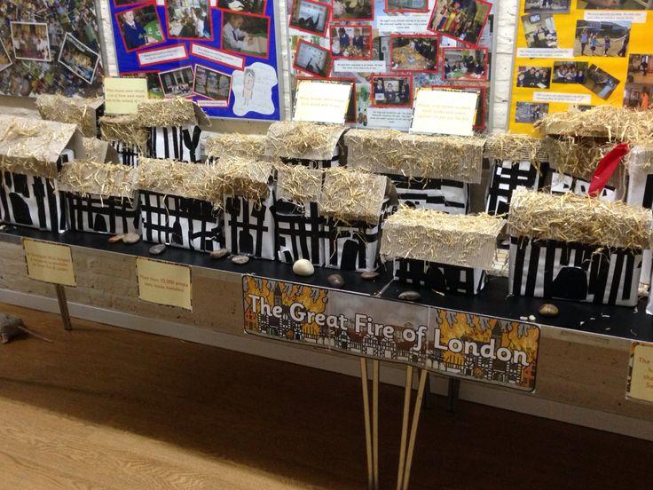Great fire of London display of pudding lane 1666 teach ks1. Children made their own model Stuart houses X