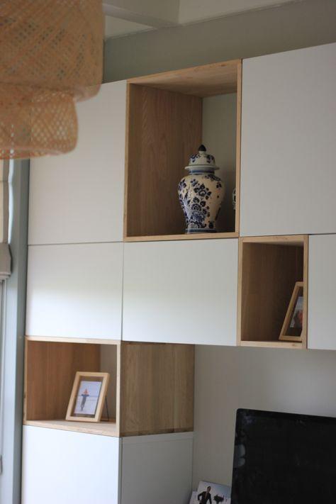 #projectvoorkamer Kastenwand, combinatie Ikea Besta en DIY met eikenhout