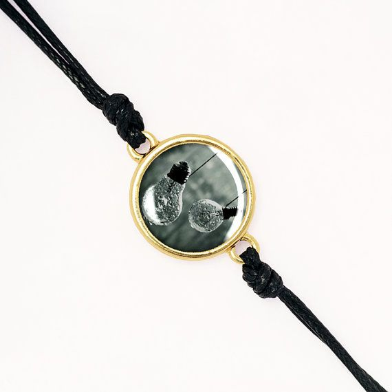 Vintage Style Cabochon Bracelet, Light bulbs, Handmade Glass Cabochon, Silver, Antique Bronze, KC Gold BCZA01R06K10