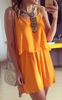 Spaghetti Strap Hollow Pleated Dress