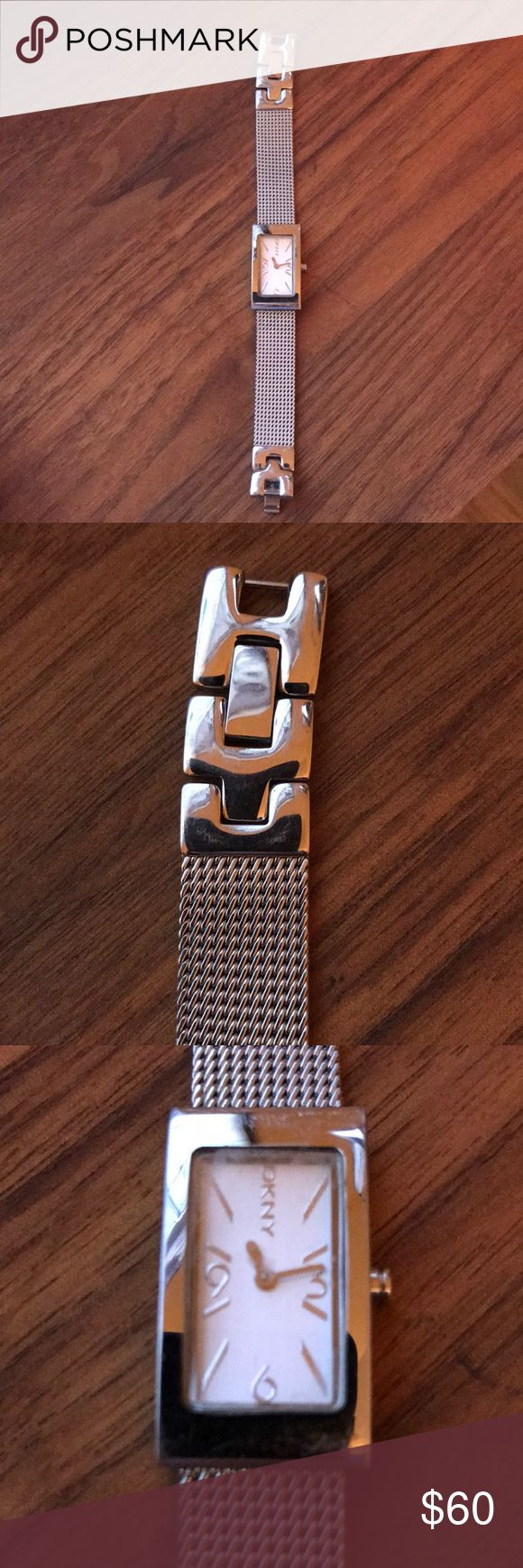 DKNY silver mesh band watch DKNY silver skinny mesh band with square face DKNYC Accessories Watches