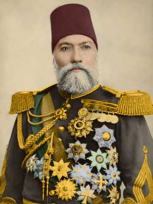 "Portrait of Ghazi Osman Pasha (1832-1900) in ceremonial costume, by Abdullah Frères (Istanbul), ca. 1880. He was an Ottoman general and the hero of the Siege of Plevna in 1877. Although unsuccessful in defending the city, he was awarded the title 'Gazi' (""warrior"" or ""veteran"") as a result of that siege."