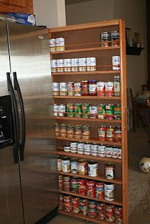 Cabinet DIY completed and tutorial. Use the wasted space in the gap by the fridge to store all your canned goods and see everything.