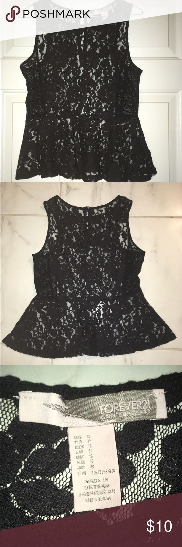 Forever 21 Black Lace Peplum Top Black lace Forever 21 peplum top. Key hole button detail on back. Size small. Great condition. Never worn. Forever 21 Tops Blouses
