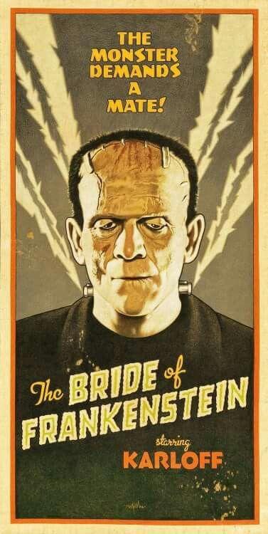 """ Frankenstein "" Arthur K. Miller artist. Classic vintage hollywood horror film posters / lobby cards"