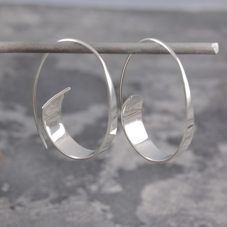 Flared Ribbon Sterling Silver Hoop Earrings   Supernatural Style