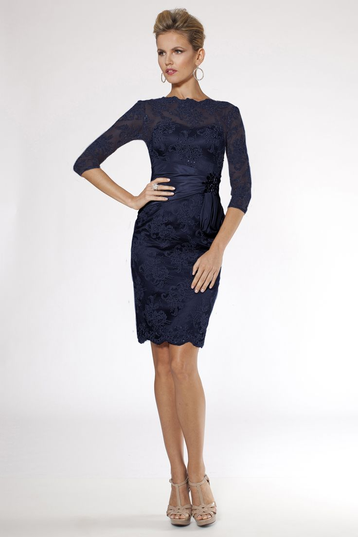 Teri Jon Navy Lace & Beaded Dress $620.00