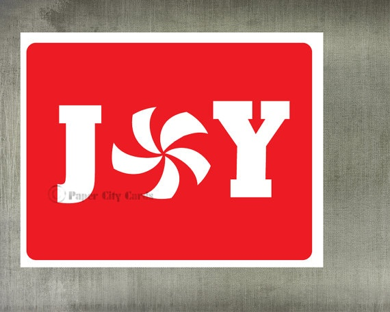 Joy Christmas Card with peppermint by PaperCityCards
