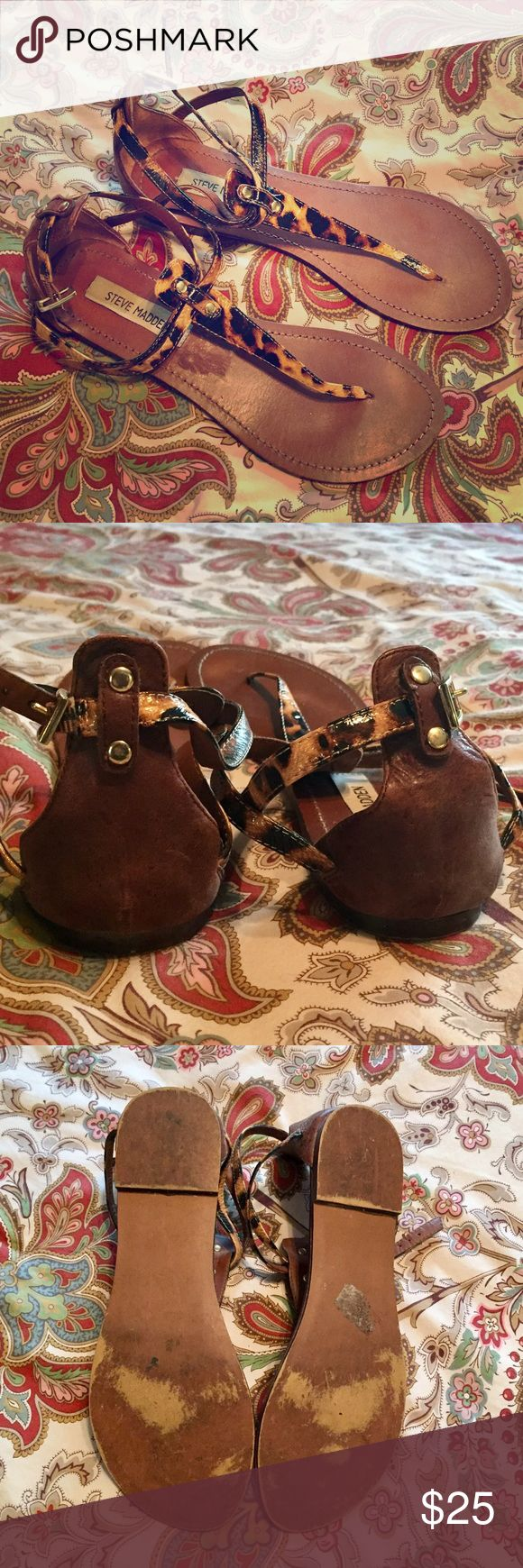 Steve Madden leopard sandals Size 9 Steve Madden leopard print ankle strap sandals. In great condition with typical wear on bottoms. No noticeable wear when wearing. Steve Madden Shoes Sandals
