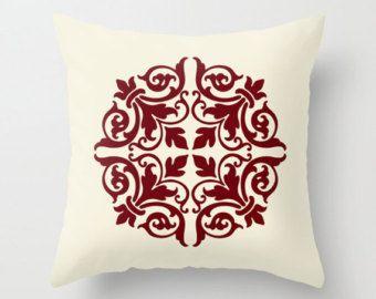 Throw Pillow Cover - Damask - Maroon Cream - 16x16, 18x18, 20x20 - Bedroom Living Room Original Design Nursery Baby Art Home Décor by Adidit