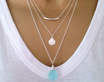 3 Gold Layering Necklaces uk Shop ALSO IN SILVER by PABJewellery