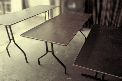 Folding Tables Our standard folding table is sturdy, easily folded and cost effective. Hire hundreds or a handful. Different sizes and heights available.