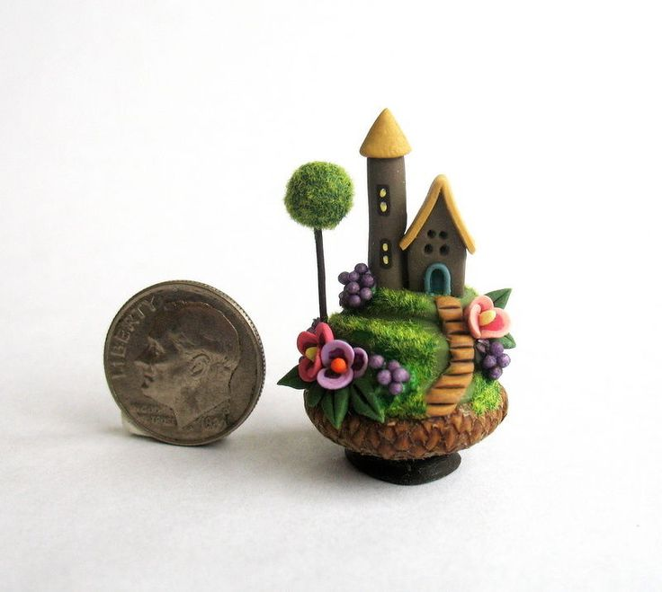 Handmade Miniature FAIRY  HOUSE IN ACORN CAP - OOAK art by C. Rohal #CRohal