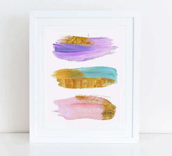 Modern Abstract Art Print, Instant Download afdrukbare Decor van het huis, digitale kunst Print, aquarel Art Print, Abstract schilderen kunst, roze Mint