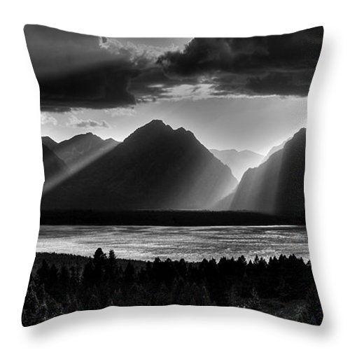 Light beams flood the Mountain scene. Grand Tetons National Park, Wyoming, USA. The shot was taken from Signal mountain. Throw Pillows.