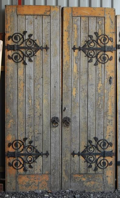 A pair of Victorian oak church doors. Lassco