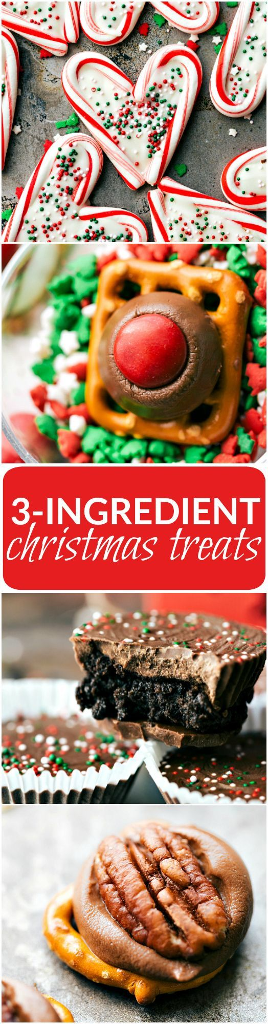 The BEST and easiest 3-ingredient Christmas treats -- perfect for giving to neighbors, bringing into work, taking to a party, or enjoying with your family! Homemade white chocolate peppermint hearts, pretzel hug/kiss bites, thin mint oreo cups, and easy turtles. FOUR recipes via chelseasmessyapron.com