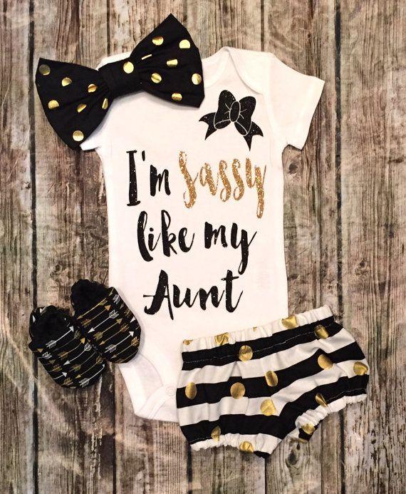 """Baby Girl Onesie I""""m Sassy Like My Aunt onesie Girls Shirt Aunt Shirts Sassy…"""