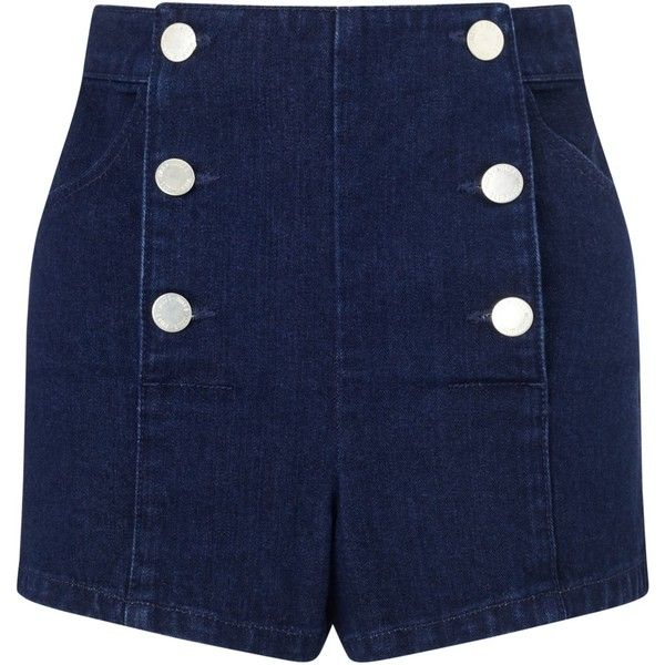 Miss Selfridge Petite Sailor Shorts, Indigo (£18) ❤ liked on Polyvore featuring shorts, pants, petite, petite shorts, miss selfridge, nautical shorts and sailor shorts