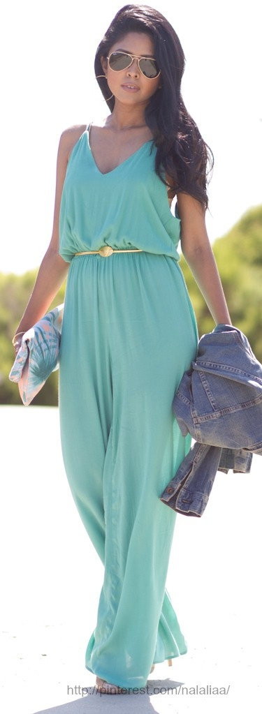 Inlove with this seafoam green palazzo jumpsuit. I would definitely dress it down with that jeans jacket.