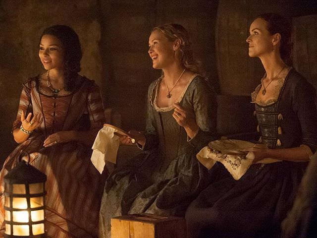 @hannahnewuk with embroidery? Not a sight we ever thought we'd see. #BlackSails #BehindTheScenes - Season 4 Episode 401 |  Jessica Parker Kennedy as Max, Hannah New as Eleanor Guthrie Rogers, Anna-Louise Plowman as Mrs. Hudson | Black Sails | STARZ